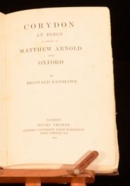 1906 Corydon Elegy in Memory of Matthew Arnold Reginald Fanshawe Scarce First