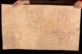 c1920 Large Folding Map of the South of England London Oxfordshire Essex