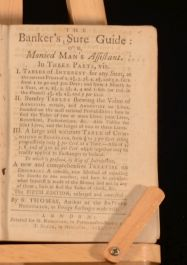 1782 The Banker's Sure Guide or Monied Man's Assistant by S. Thomas