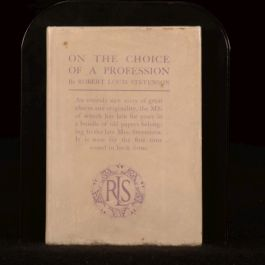 1916 On the Choice of a Profession Robert Louis Stevenson Dustwrapper First Ed