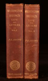 1877 2vols Washington Irving Life Letters Biography Pierre American Author