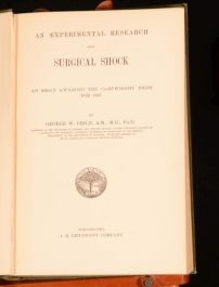 1899 An Experimental Research into Surgical Shock By George Crile First