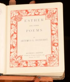 1915 Esther and Other Poems by Artemus G Bathurst Authors Edition Very Scarce
