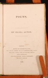 1826 Poems ELIZA ACTON 1st Edition