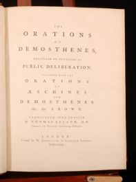 1770 ORATIONS DEMOSTHENES Aeschines Demonstrations Crown Thomas Leland