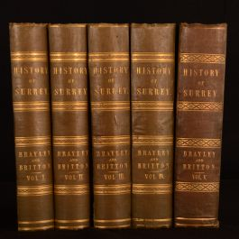 1850 5vol Topographical History of Surrey Brayley Illustrated Folding Plates
