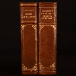 c1893-1905 2vol Cassell's Sports Pastimes Chambers Twentieth Century Dictionary Illustrated