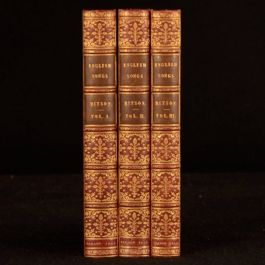 1813 3vols A Select Collection of English Songs with Their Original Airs Ritson