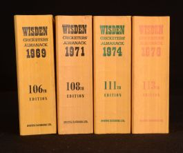 1969-1976 4vol Wisden Cricketer's Almanack Edited by Norman Preston Linen Covers