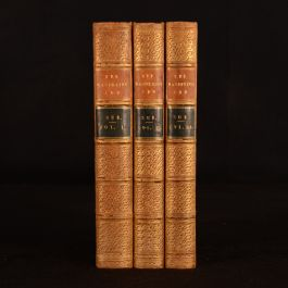 1844-1845 3vol The Wandering Jew by Eugene Sue Calf Binding French Literature