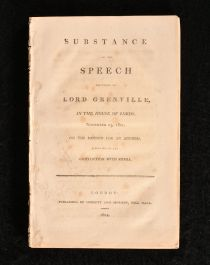 1802 Substance of the Speech Delivered by Lord Grenville in the House of Lords