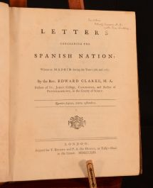 Letters Concerning The Spanish Nation Written at Madrid During 1760 and 1761