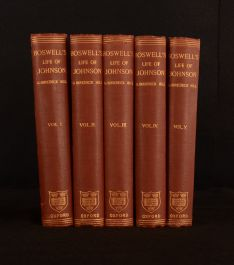 1887 5vol Boswell's Life of Johnson G B Hill Biography Autobiography