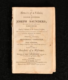 1803 The Memoirs of a Villain or Singular Adventures of Joseph Saunders