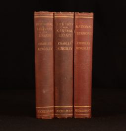1890 3vols Charles Kingsley Historical Lectures National Sermons Literary General Essays