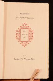 1933 In Memoriam A H H Alfred Lord Tennyson Nonesuch Press Edition Arthur Hallam