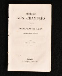 1831 Memoire Aux Chambres a L'Occasion des Evenemens de Lyon