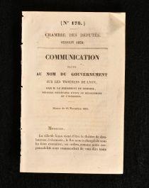 1834 Chambre des Deputes Session 1834 communication Faite Au Nom du Gouvernement