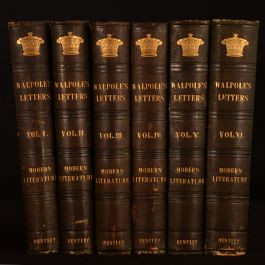 1846 6vol Letters of Horace Walpole New Edition Illustrated Leather