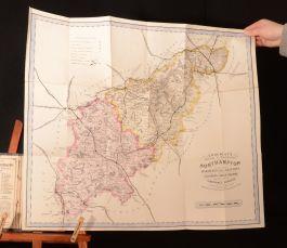 c1870 Cruchley's Railway and Telegraphic Map of Northampton Map Very Scarce