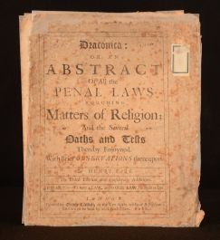 Draconica: or, an Abstract of all the Penal Laws Touching Matters of Religion