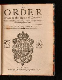 1641 An Order Made by the House of Commons