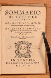 1568 Sommario di Tutte le Scienze del Magnifico Messer Domenico Delfino