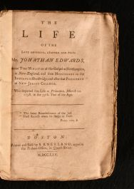 1765 The Life of the Late Reverend, Learned and Pious Mr. Jonathan Edwards