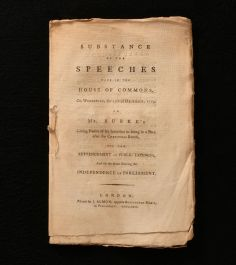1779 Substance of the Speeches Made in the House of Commons on Wednesday