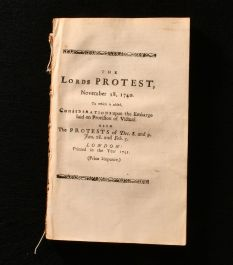 1741 The Lords Protest, November 18, 1740. To Which is Added, Considerations