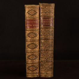 1854-1857 2vol Miscellaneous Prose Poetical Works Walter Scott Folding Plate