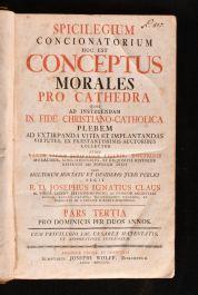 1756 Spicilegium Concionatorium Hoc Est Conceptus Morales Pro Cathedra