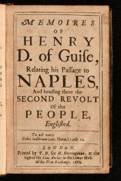 1669 Memoires of Henry D of Guise Relating His Passage to Naples