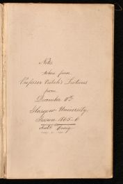 1865-66 Professor Veitch's Lectures From December 11th Glasgow University