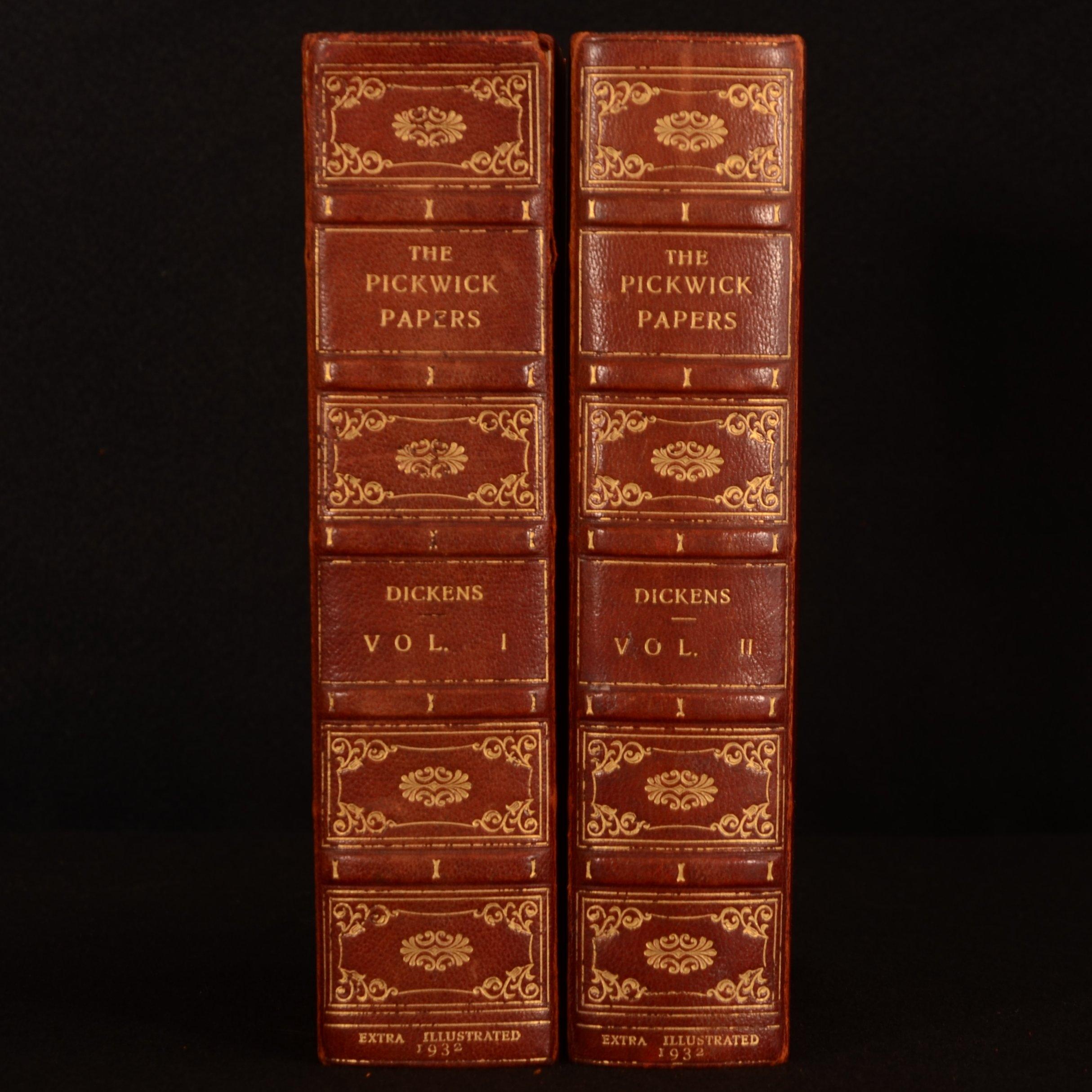 1932 2vol Pickwick Papers Dickens Bayntun Binding Lombard